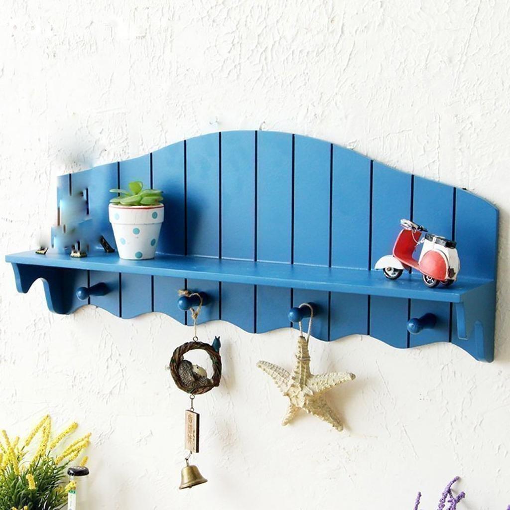 地中海スタイルのフック付きラック複数の棚の棚ベッドルームの装飾のための居間のディスプレイラックの壁、青/赤、60 * 12 * 25cm, blue B07JBWQCQB Blue
