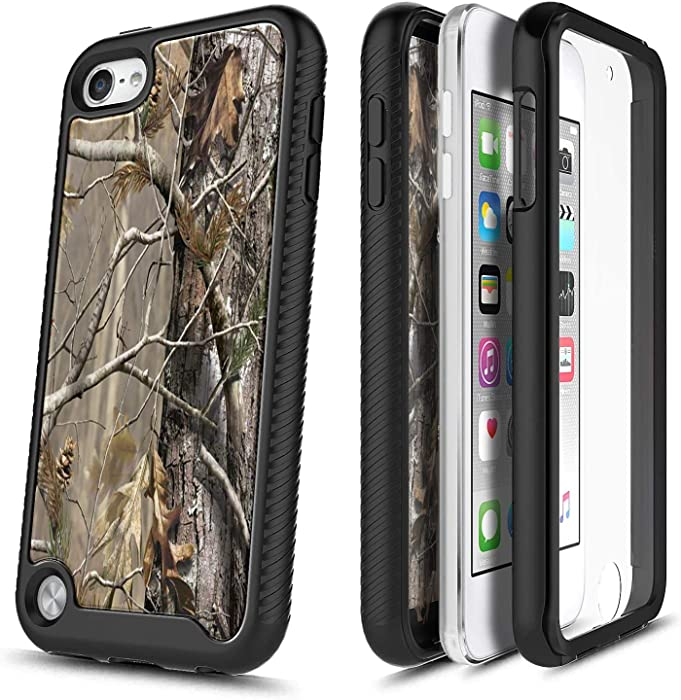 E-Began Case with Built-in Screen Protector for iPod Touch 7, iPod Touch 5/6, Full-Body Protective Shockproof Rugged Black Bumper Cover Durable Case for iPod Touch 7th/6th/5th Generation -Camo