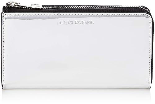 Armani Exchange - Round-zip Wallet, Carteras Mujer, Plateado (Argento),