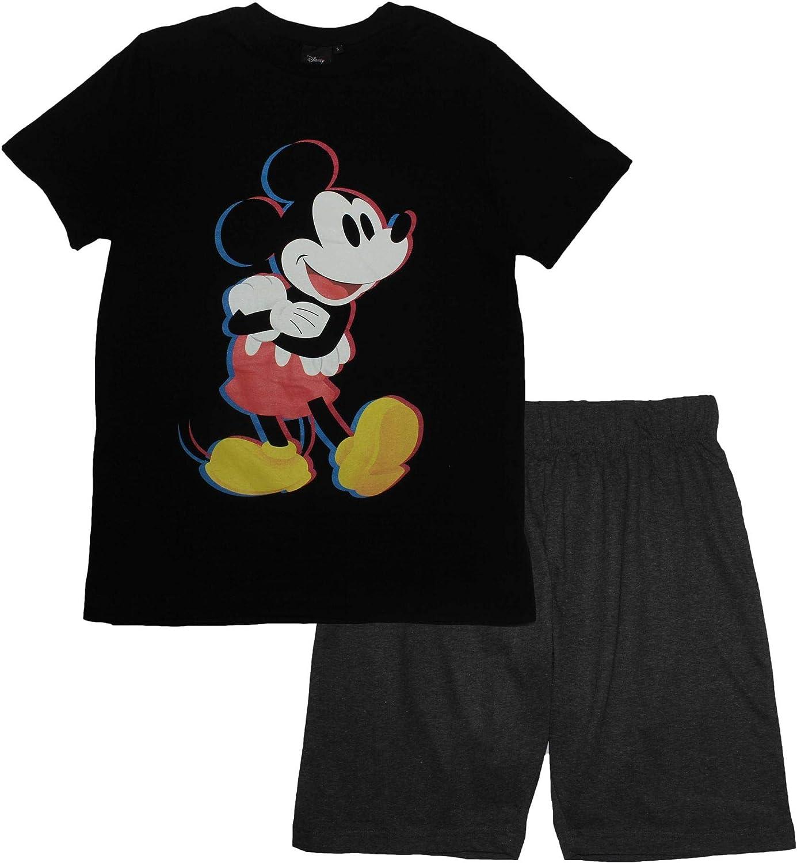 Disney Mickey Mouse Mens Adults Outline Short Sleeve Pjs Pyjama Set