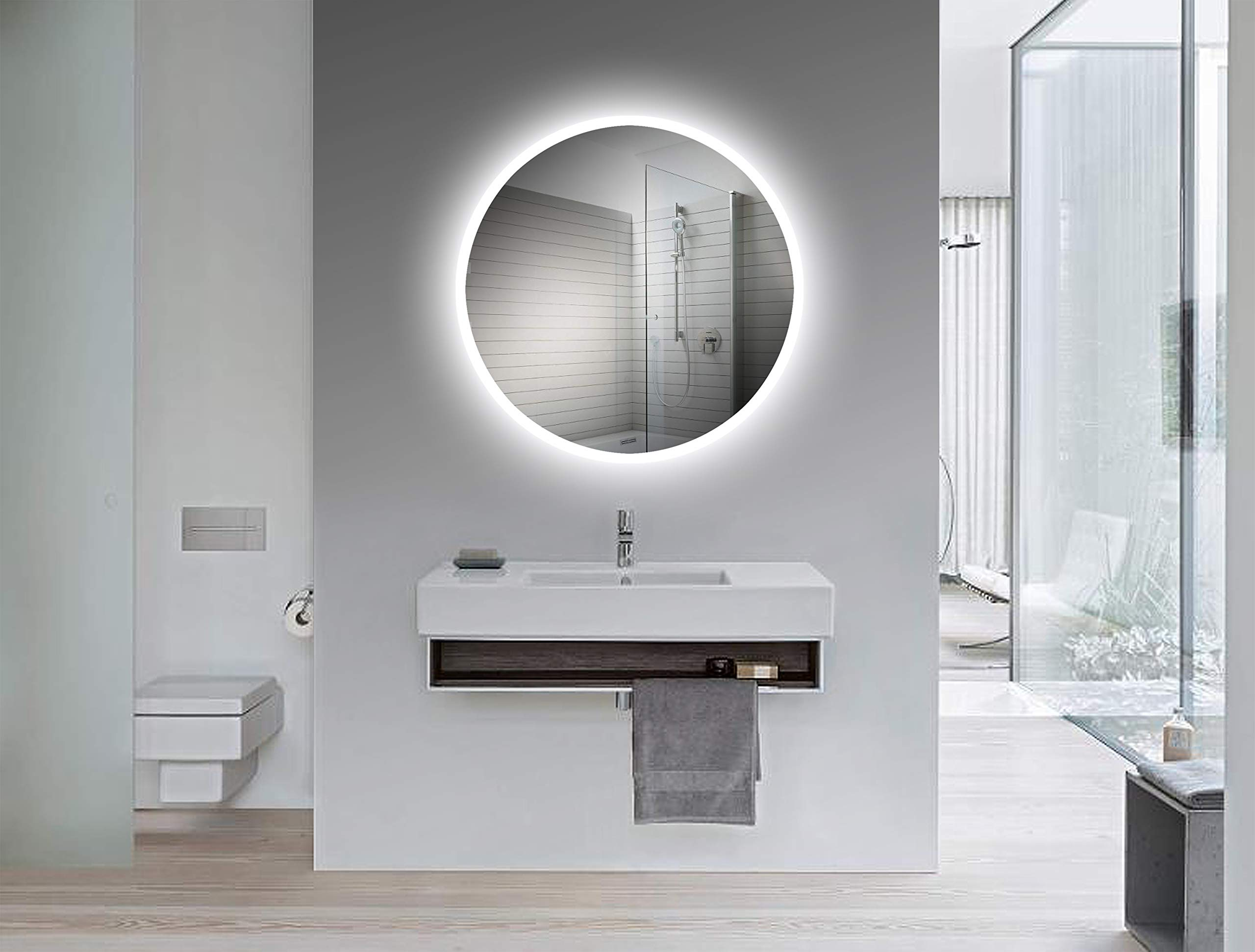 Yukon 32 x 32 Inch Round LED Wall Mounted Lighted Vanity Bathroom Silvered Mirror, CRI>90+ True Color,Dimmable, Dual colored LED Warm White/Cool White, UL Tested, Waterproof Vertical/Horizontal Mirror by Yukon
