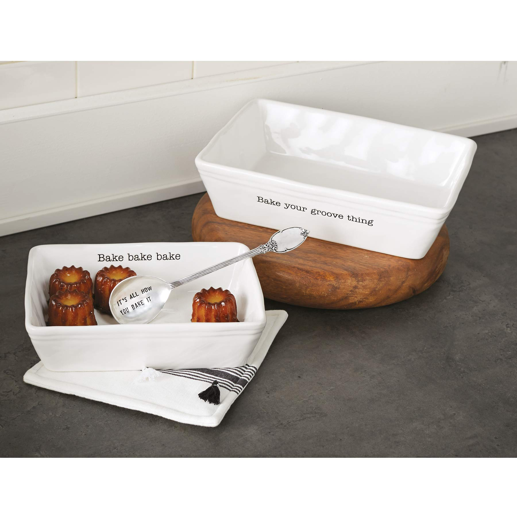 Mud Pie 48010008 Farmhouse Inspired Set of 2 Serving Spoon Baking Dish Set, One Size, White by Mud Pie (Image #3)
