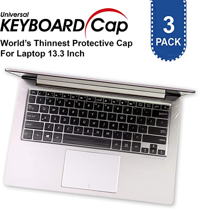 Fully Covered Flat Style Easily Sanitized Universal 0.025mm Wipeable Superb Tactile Feeling Waterproof Anti-Dust Keyboard Cap Cover for Laptop 13.3 Inch Hospital/Dentist Use [3 Pack]