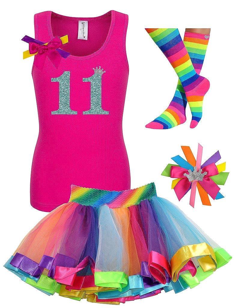 Bubblegum Divas Big Girls 11th Birthday Shirt Rainbow Tutu Socks Hair Bow 4pcs Outfit
