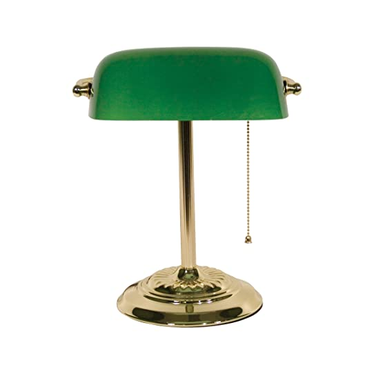Ledu L557BR Traditional Banker's Lamp, 14-Inch High, Brass Base ...