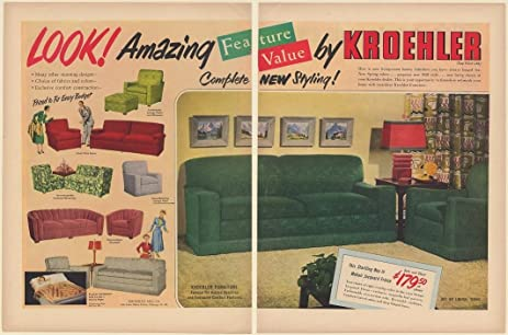 1950 Kroehler Living Room Furniture Sofas Chairs 2 Page Print Ad (67530)