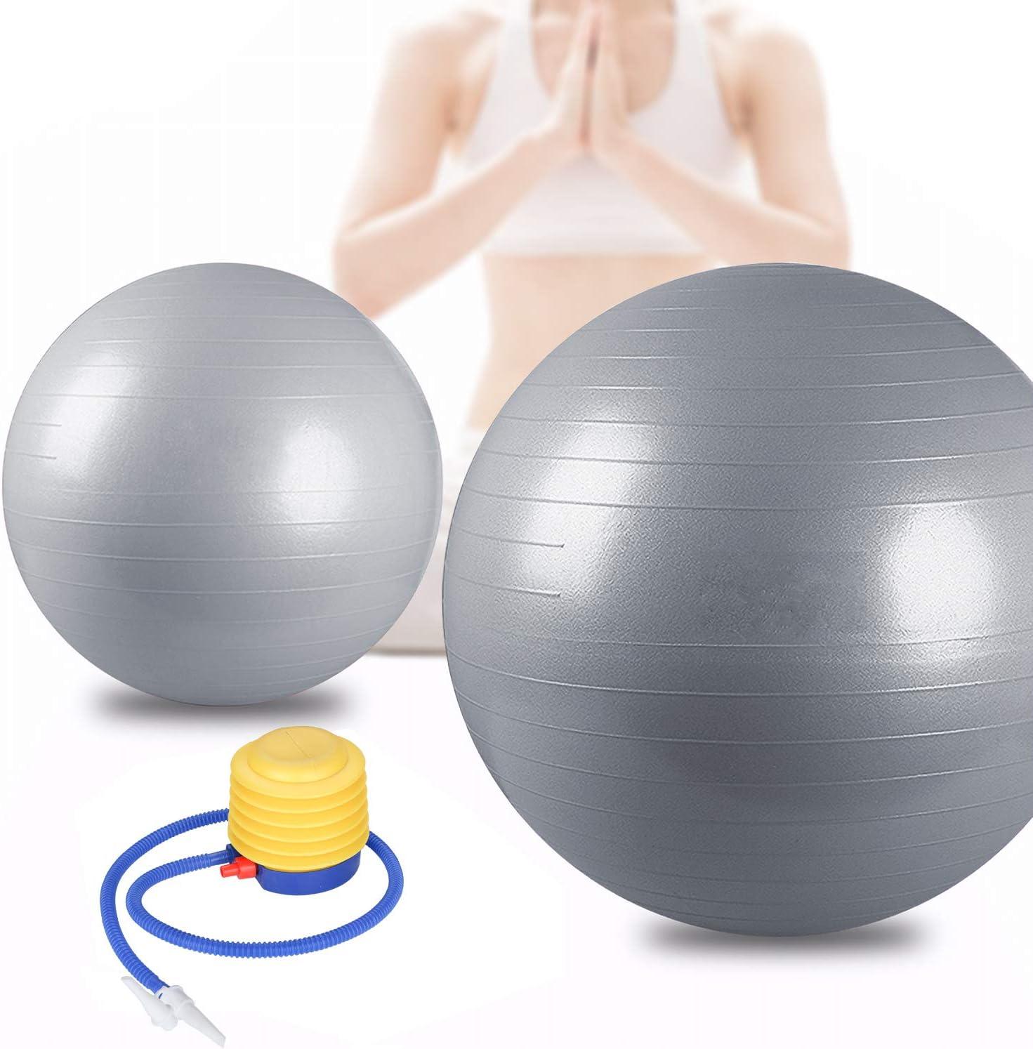 Pelota de gimnasia color plateado BMOT Bad Company incluye bomba para pelota, pilates, yoga y pilates, hasta 300 kg, 65 cm