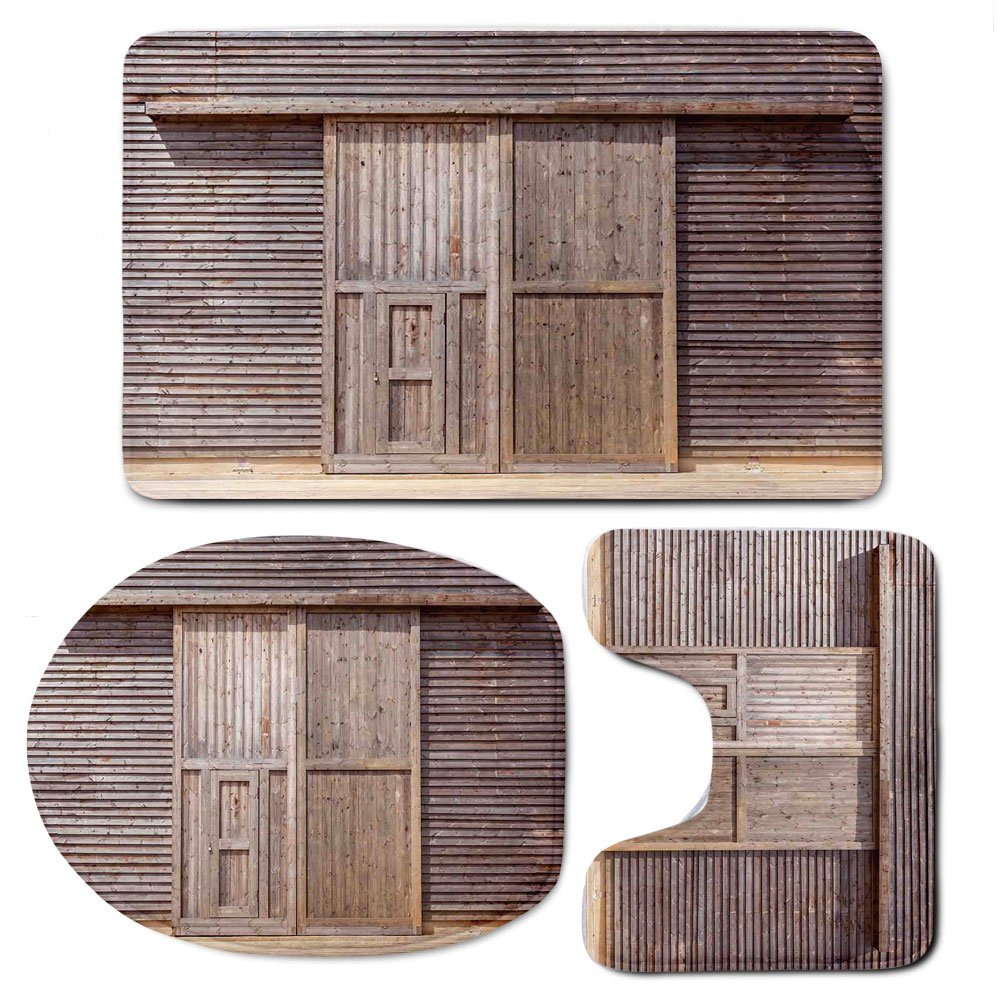 3 Piece Bath Mat Rug Set,Industrial,Bathroom Non-Slip Floor Mat,Old-Wooden-Timber-Oak-Barn-Door-Farmhouse-Countryside-Rural-House-Village-Artsy-Print,Pedestal Rug + Lid Toilet Cover + Bath Mat,Brown