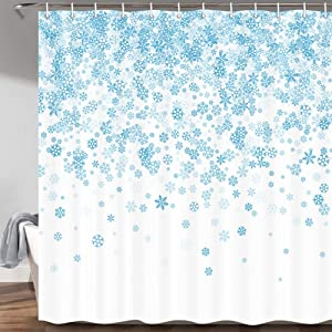 MERCHR Christmas Shower Curtain for Bathroom, Falling Snowflake Decor Winter Holiday Cloth Fabric Shower Curtains Set with Hooks, (71x71 Inches, Blue White)