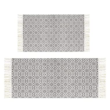 HEBE Large Cotton Area Rug Set of 2 Woven Cotton Area Rugs Runner for Living Room Bedroom Kitchen Rug Runner Sets Floor Carpet Machine Washable 2'x3'+2'x4.2'