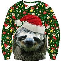 RAISEVERN Pull de Noël Pullover, Funny Sweatshirts pour Hommes Femmes Unisexe Ugly Pull 3D Imprimé Xmas Graphique Pull Santa S-XXL
