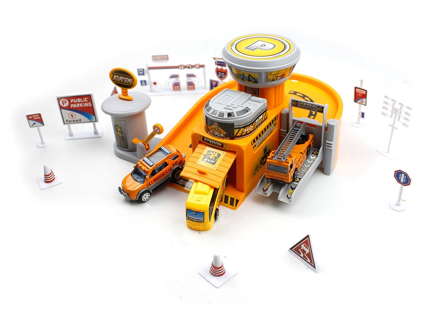 Little Treasures Utility repair mechanical shop play toy a fun engineering fix station with parking