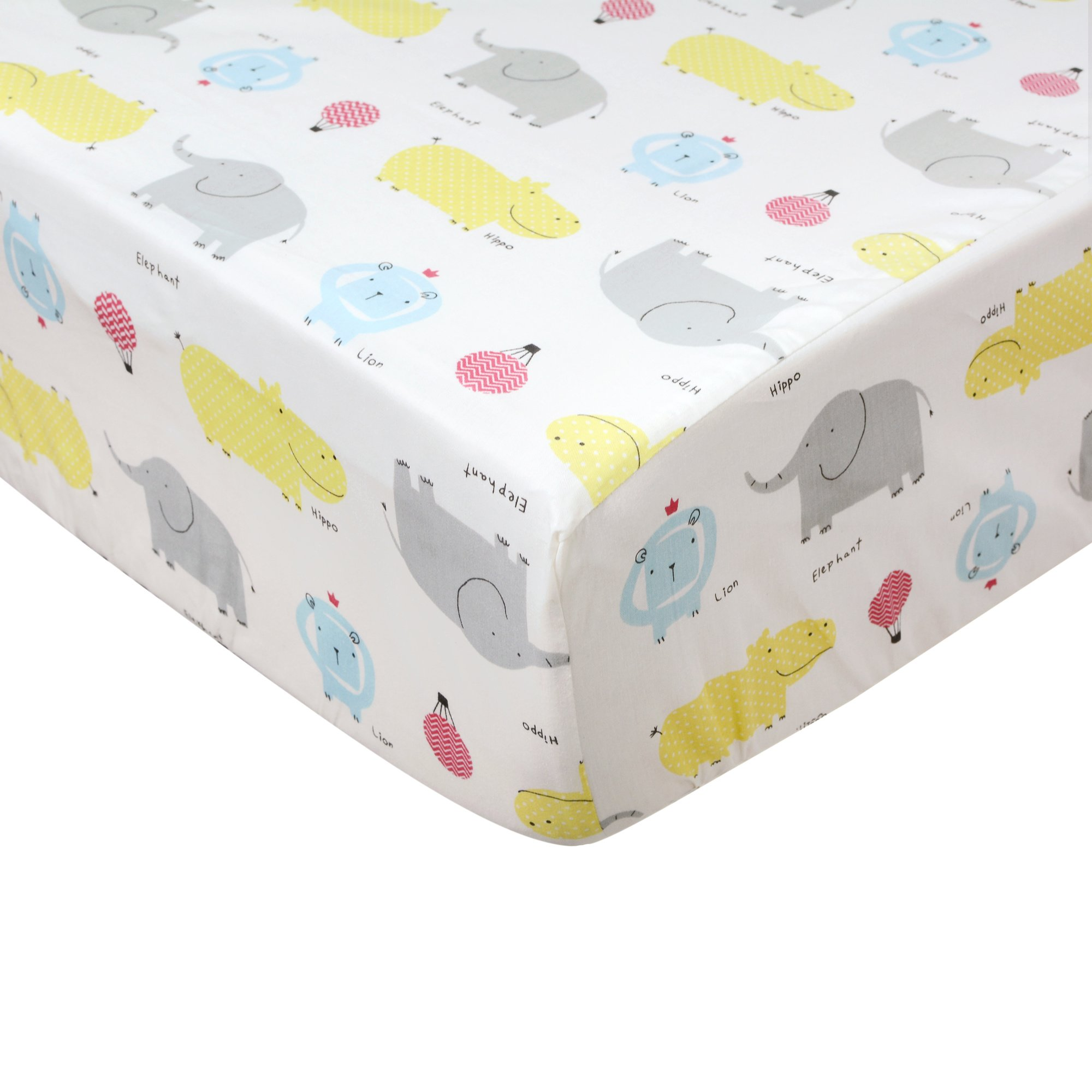 100% Cotton Crib Fitted Sheets with Elephant Hippo & Lion Woods Fitted Crib Sheet- Deluxe Quality Nursery Baby Bedding for Boy- Soft, Breathable & Durable by Brandream