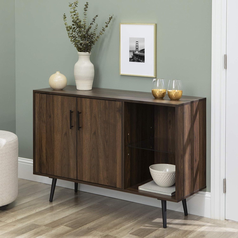 WE Furniture TV Stand, 44 , Dark Walnut