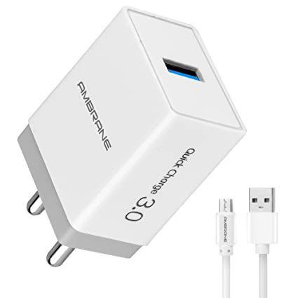 Ambrane 18W 3A Charger (Qualcomm Certified) with Quick Charge 3.0 + Free Micro USB Cable (AQC-56, White)