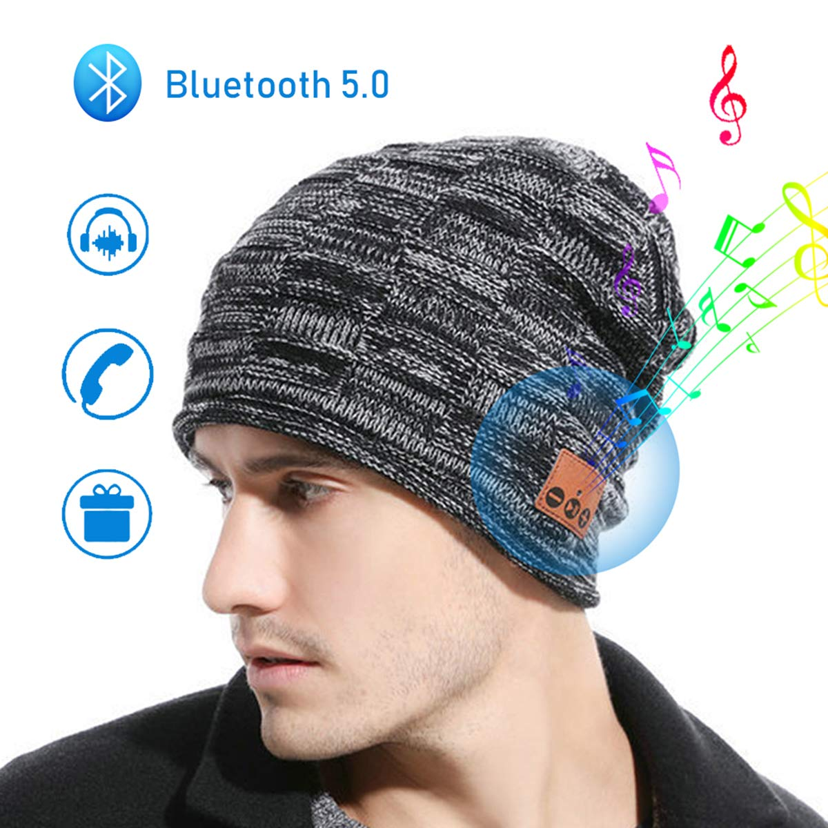 JIANYIJIA Music Hat Bluetooth Headset Hat Soft Warm Knitted Hat with Stereo Speaker Headphone Micro Phone Hands Free for Receiving Calls Playing Music Compatible for All Bluetooth Devices