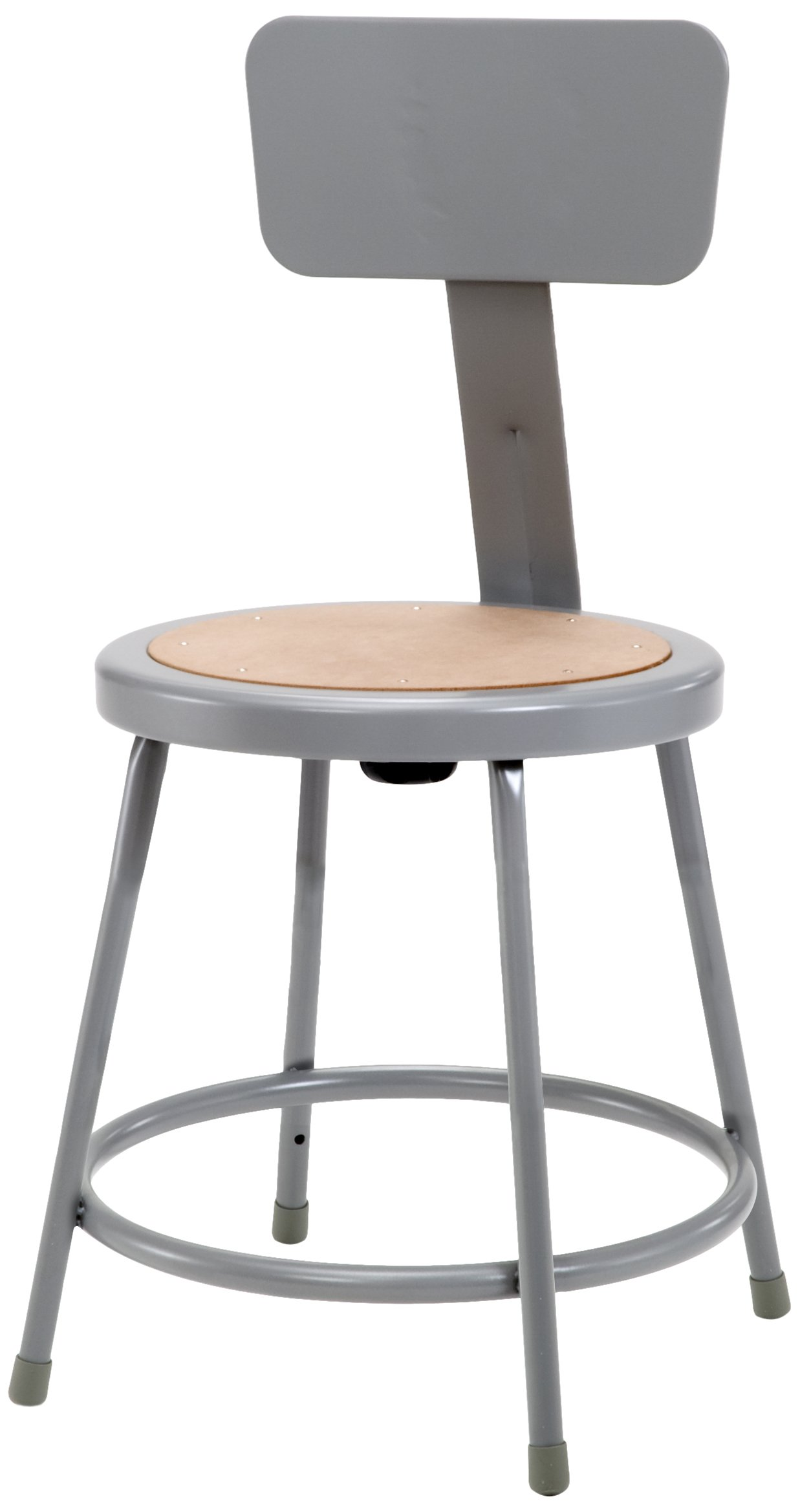 National Public Seating 6218B Steel Stool with 18'' Hardboard Seat and Backrest, Grey