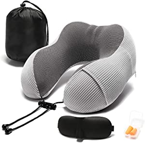 Travel Pillow Memory Foam with 360-Degree Head Support Comfortable Neck Pillow with Storage Bag Lightweight Traveling Pillow for Airplane, Car, Train, Bus and Home Use