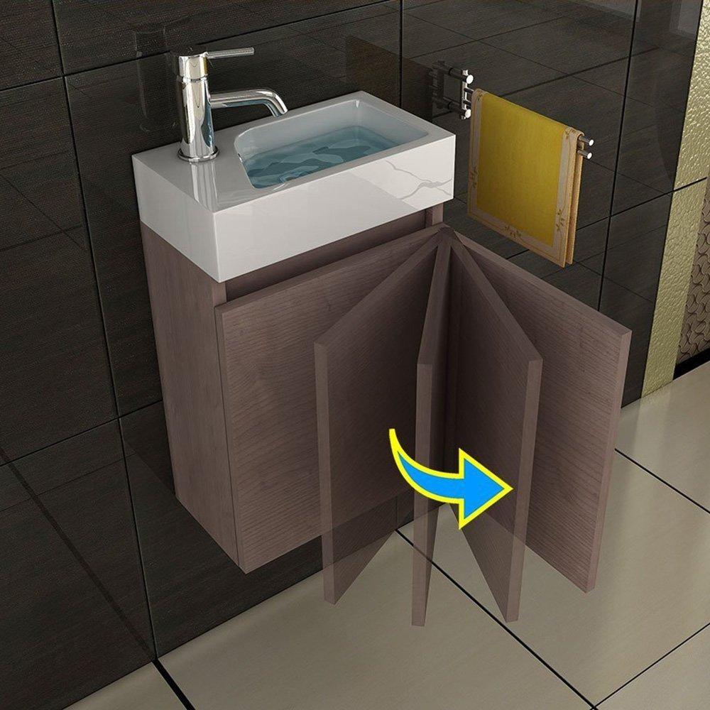 Badm ouml bel Set Waschbecken Und Unterschrank Design Spiegel Badezimmerset Farbe Braun ...