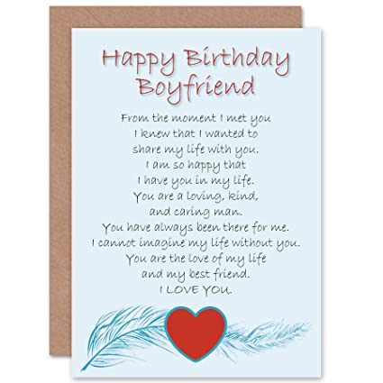 Wee Blue Coo BIRTHDAY BOYFRIEND LOVE POEM NEW ART GREETINGS GIFT CARD Amazoncouk Kitchen Home