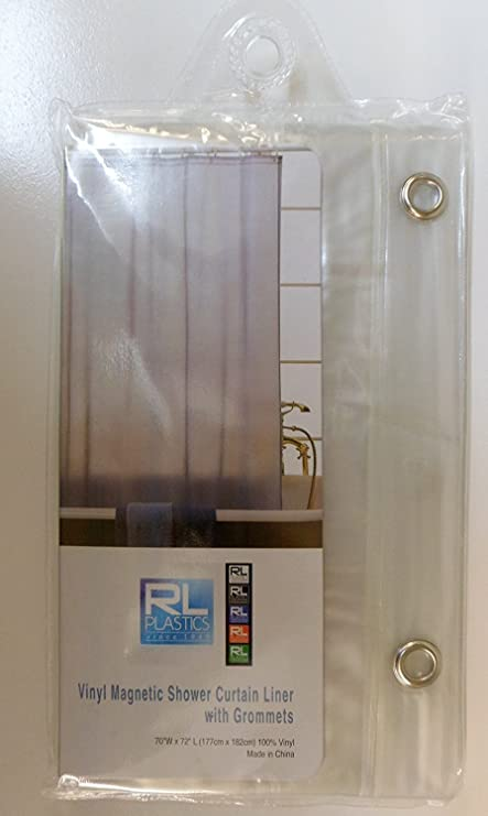 RL 100 Vinyl DPC Clear Magnetic Shower Curtain Liner With Grommets Mildew And Water