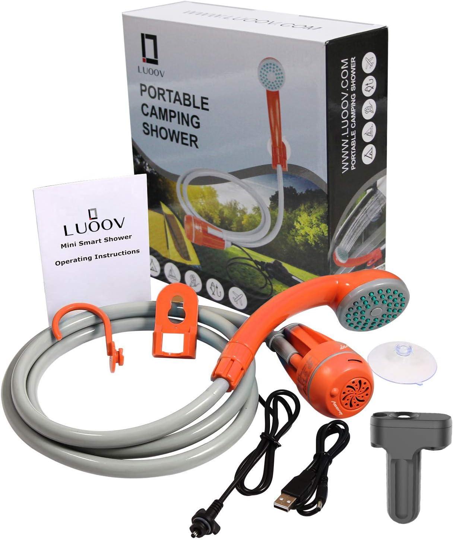 LUOOV - Bomba de ducha portátil para acampada, con dos pilas USB desmontables, cabezal de ducha portátil para camping, senderismo, viajes, uso ...