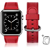 Leather Bands Compatible with Apple Watch Band 38mm 40mm 42mm 44mm,Women Men Genuine Leather Replacement Strap for iWatch Ser