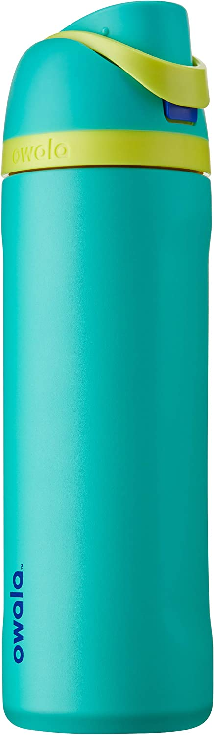 Owala FreeSip Insulated Stainless-Steel Water Bottle with Locking Push-Button Lid 24-Ounce Smooshed Blueberry