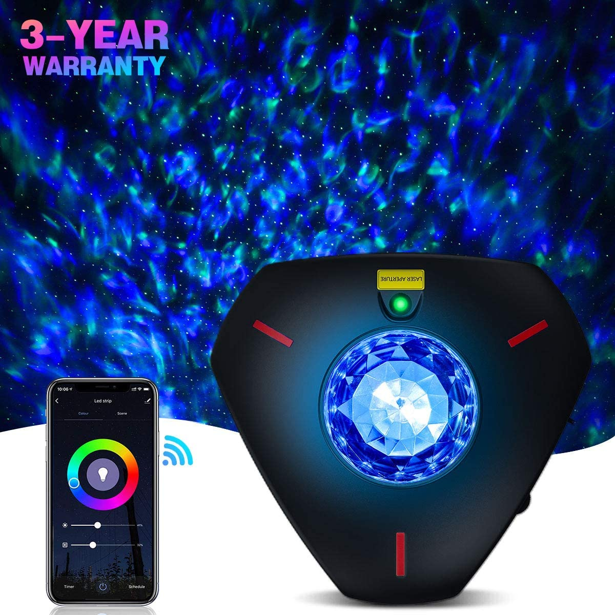 Star Projector Galaxy Projector Night Light Work with Alexa Bluetooth Music Speaker Ocean Wave Star Light Projector Star Lights for Bedroom for Baby Kids Adults Decoration Party Room WiFi Control