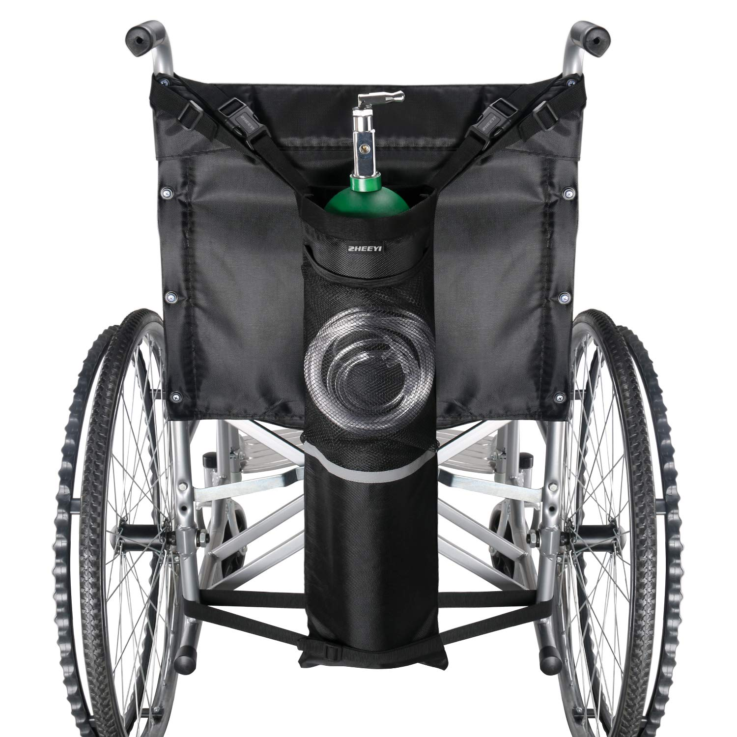 ZHEEYI Oxygen Cylinder Bag for Wheelchairs with Buckles, Fits Any Wheelchair, Black (Fits Most Oxygen cylinders) by ZHEEYI
