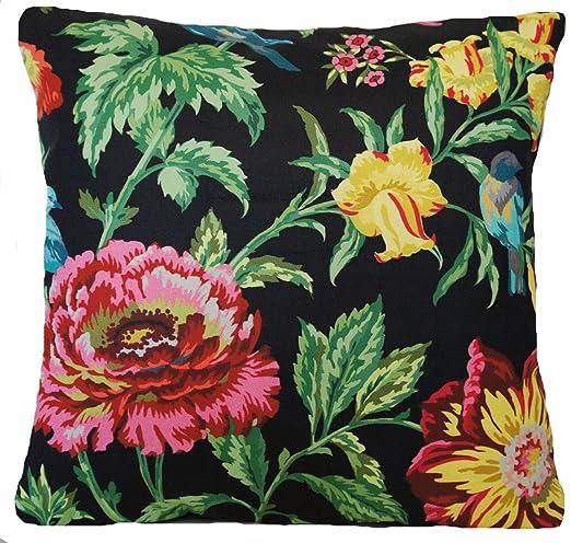 Funda de cojín Textil Londres con diseño de Flores y pájaros ...