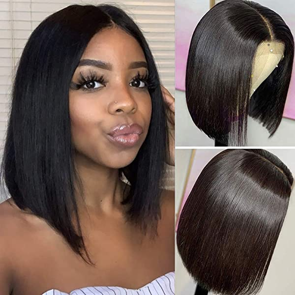Dachic 13x4 Short Bob Wigs Human Hair For Black Women Glueless Brazilian Straight Human Hair Wigs Pre Plucked Lace Frontal Bob Wigs Short Lace Wigs Middle Part 130 Density Natural Color 8 Inch Beauty Amazon Com