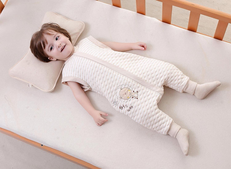 Infantil Mono Saco de Dormir Algod/ón Mameluco con Pies Mangas Largas Desmontables para Beb/é con Cremallera Pijama Estampado 3D Dibujo Animado para Ni/ños Ni/ñas Happy Cherry Elefante Talla M