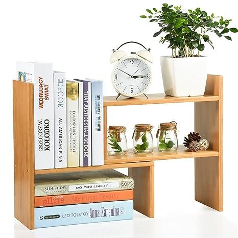 Bamboo Adjustable Desktop Bookshelf Countertop Bookcase Desk Organizer Shelf Rack For Home Office Kitchen