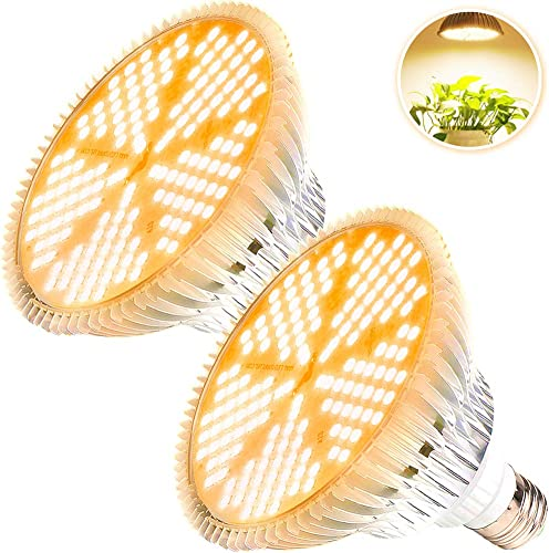 2 Pack 100W Led Grow Light Bulb, MILYN Pure Warm Full Spectrum Grow Lights for Indoor Plants, E26 Grow Bulb for House Garden Hydroponics Succulent Seed Starting, Growing, Flower 150LEDs Lamp