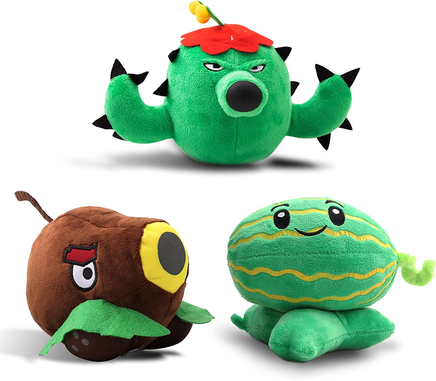 Maikerry 3 Pieces Plush Plants vs. Zombies 1&2 Figure Toy,Great Gifts for Kids Birthday,Halloween and Christmas