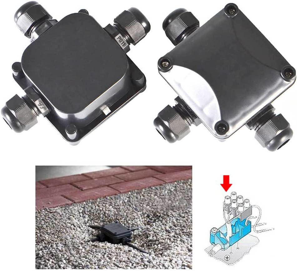 Negro OFNMY 2pcs Caja de Junci/ón Conector de 3 V/ías de Interior//Exterior IP68 Impermeable S/úper /Ø 5.5mm-10.2mm
