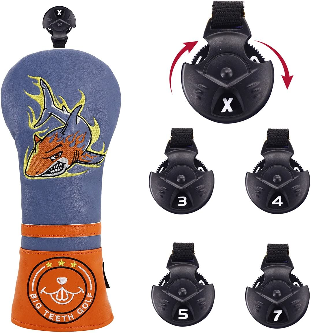 Big Teeth Golf Head Covers Fairway Protector Headcover PU Leather with Interchangeable Number Tag