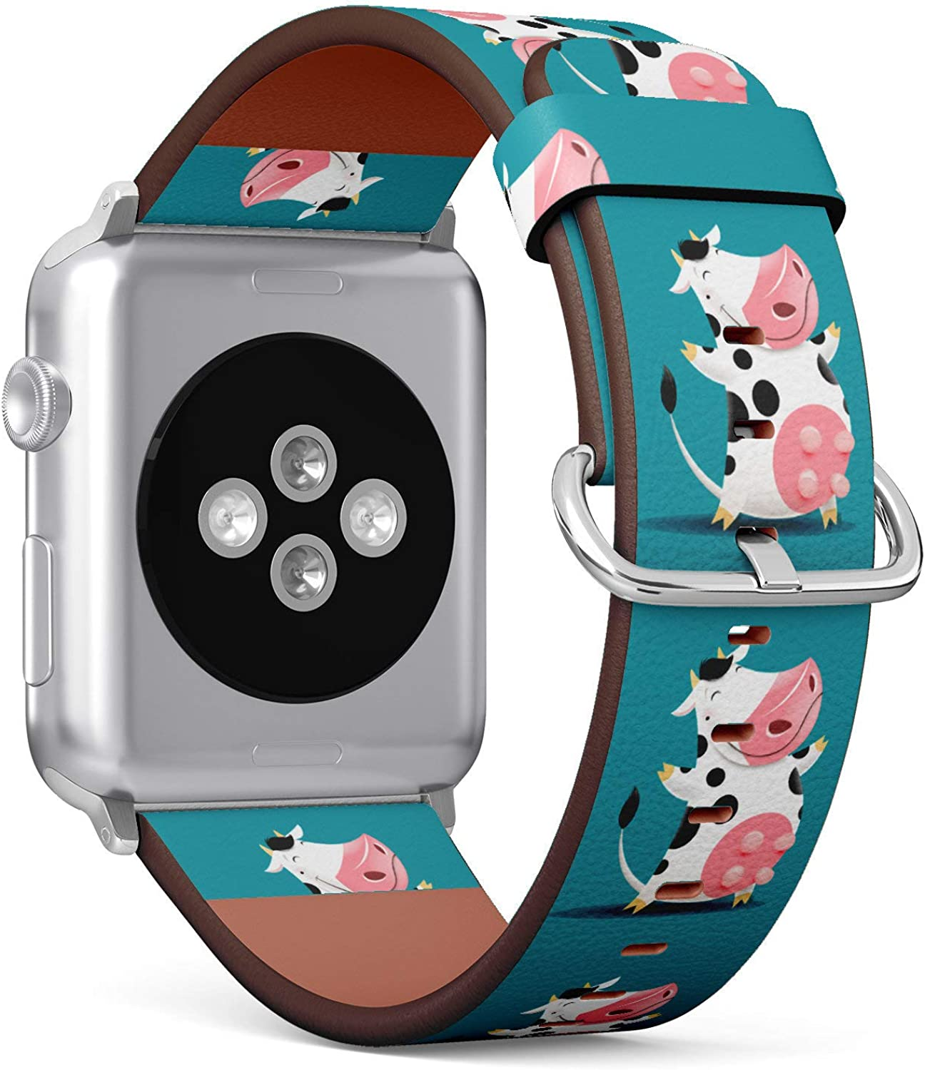 (Cute Milk Cow) Patterned Leather Wristband Strap for Apple Watch Series 4/3/2/1 gen,Replacement for iWatch 42mm / 44mm Bands