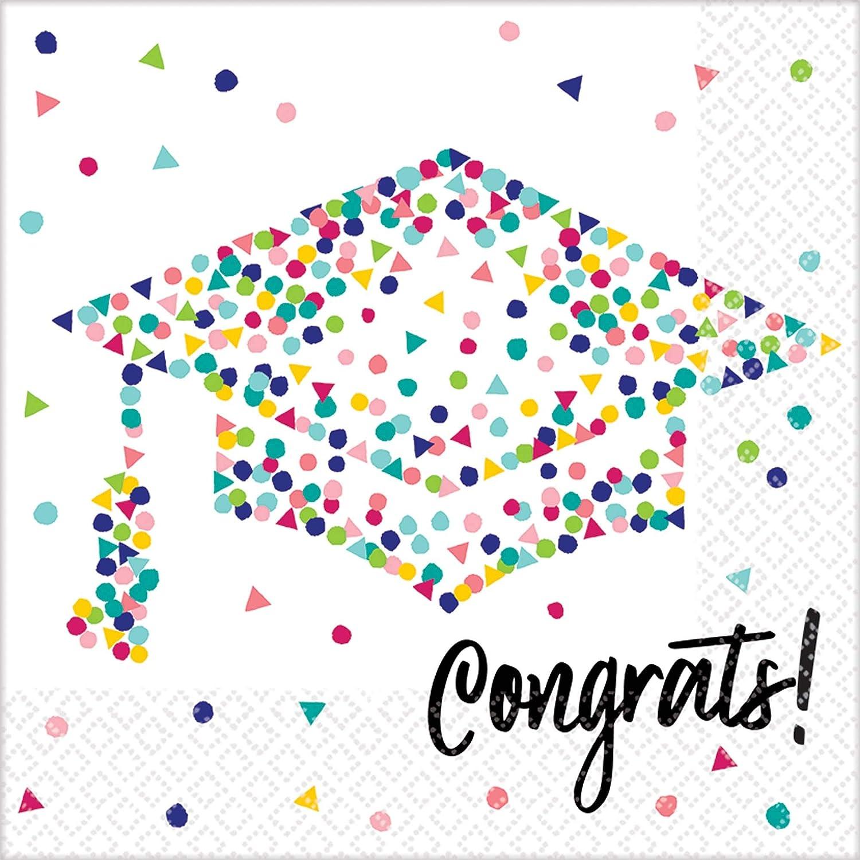 amscan Multicolor Confetti Graduation Table Napkins - 36pc, Multi-colored, One Size
