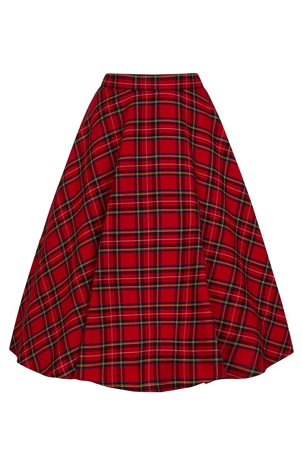 1950s Swing Skirt, Poodle Skirt, Pencil Skirts Hell Bunny Irvine Red Tartan 50s Vintage Retro Flare Swing Skirt $46.99 AT vintagedancer.com