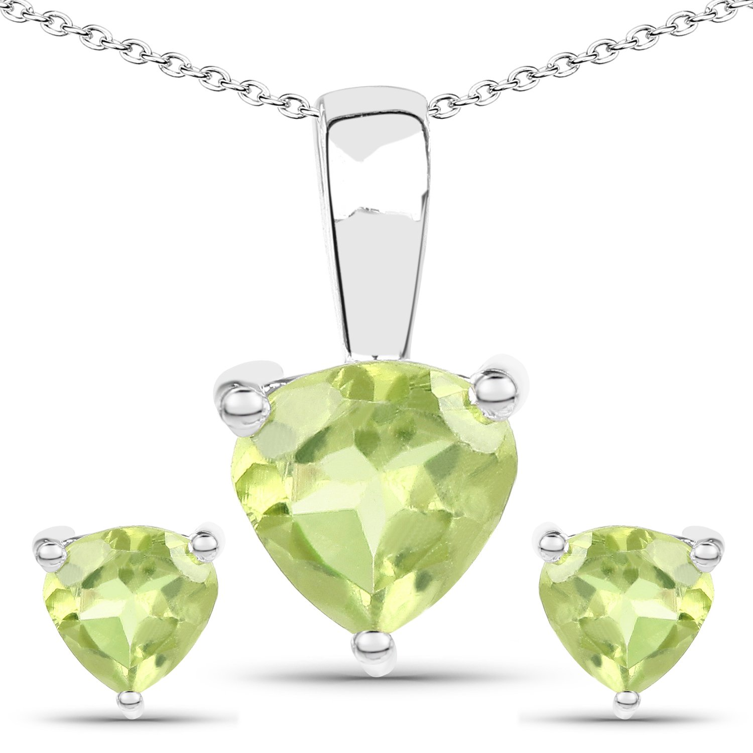 1.20 ct. Genuine Peridot Sterling Silver Jewelry Set