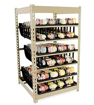 FIFO puede rack stackable- Organizador de Almacenamiento de Comida Alimentos en lata/rotater/dispensador: Cocina, armario, pantry- girar latas de hasta 340: ...