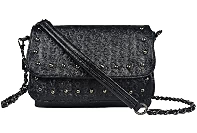 3031aa54d4f68a Women Black Punk Skull Rivets Flap Cross Body Bags with Chain Strap ...