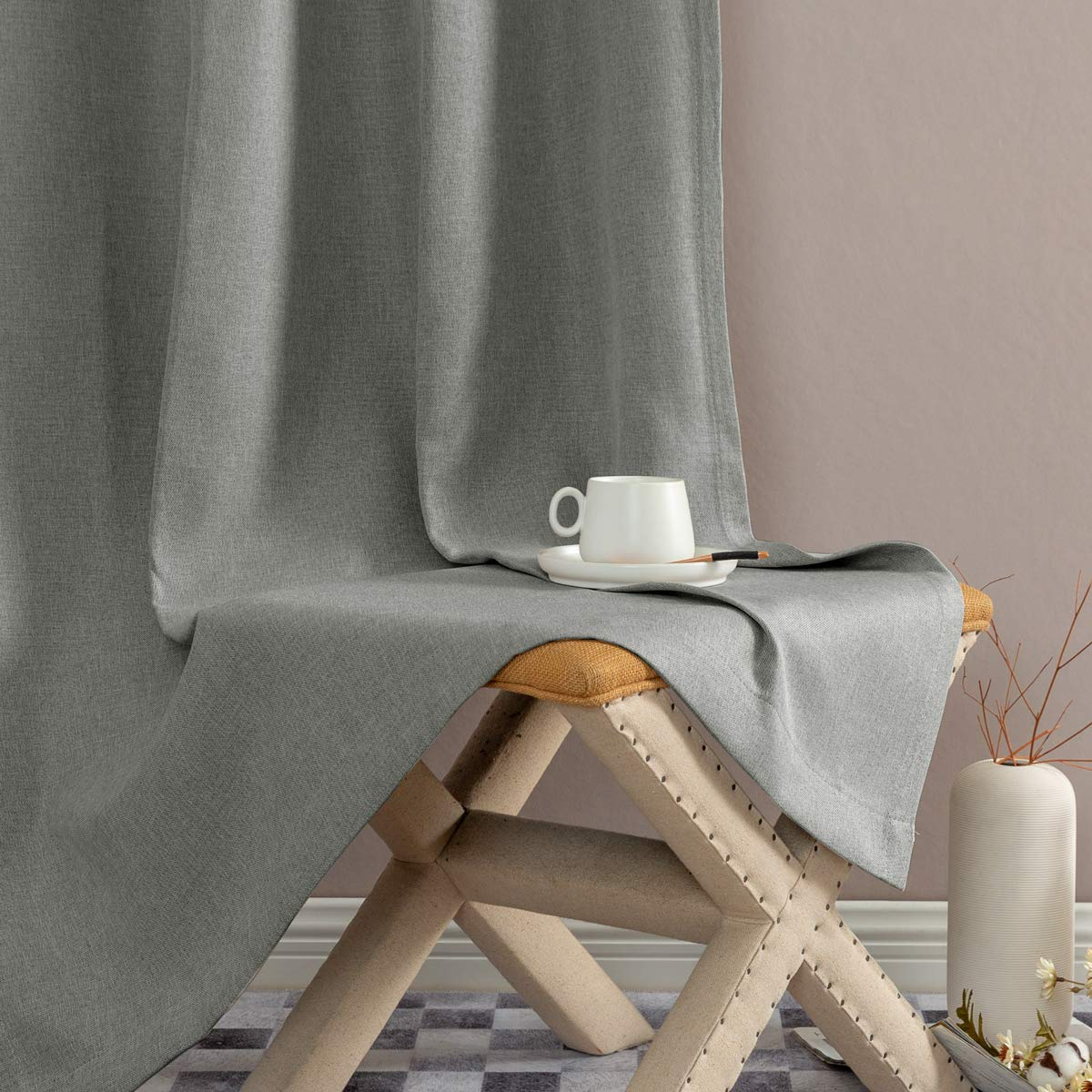 Jinchan Faux Linen Grommet Room Darkening Curtains Bedroom Linen Textured Blackout Curtains Living Room Curtain Panel Ckny Home Fashion Zbg10092 5245c07 1 Pair 45 Inch Soft Gray Window Treatment Sets