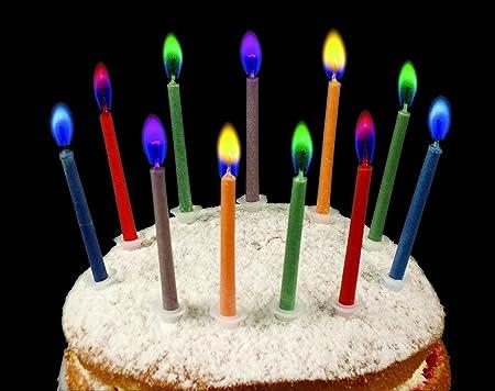 Multi Color Pastel de cumpleaños velas seguro llamas boda ...
