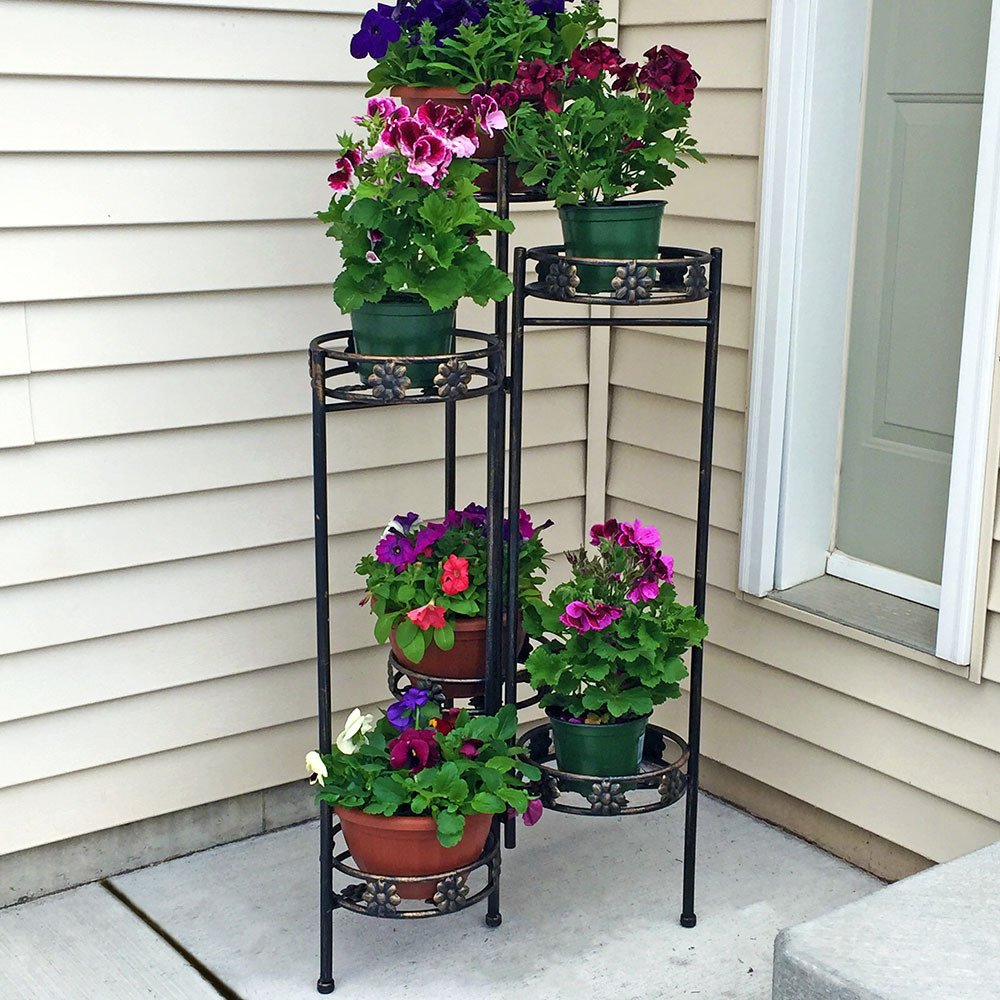 Sunnydaze 6-Tiered Indoor/Outdoor Folding Plant and Flower Stand, 45 Inch Tall by Sunnydaze Decor