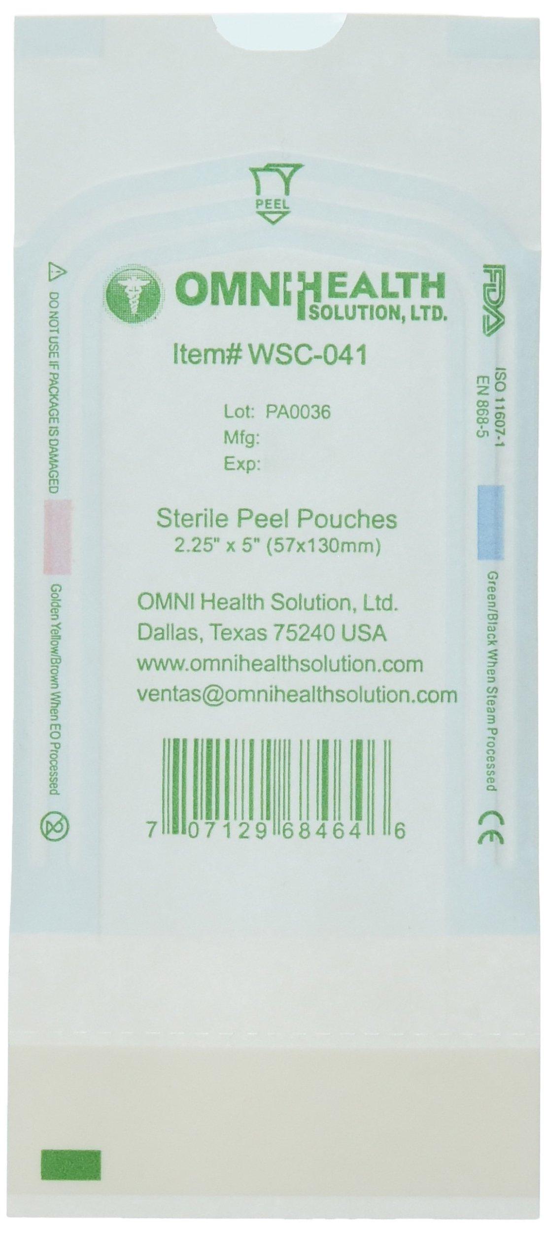 Omnihealth Self Seal Sterilization Pouches, 2.25'' H, 200 Piece