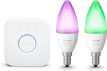 Philips Hue White and Color Ambiance - Pack de 2 bombillas LED E14, 6.5W, Puente hue incluido, iluminación inteligente, cambian de color ,compatible con Amazon Alexa, Apple HomeKit y Google Assistant: Amazon.es: