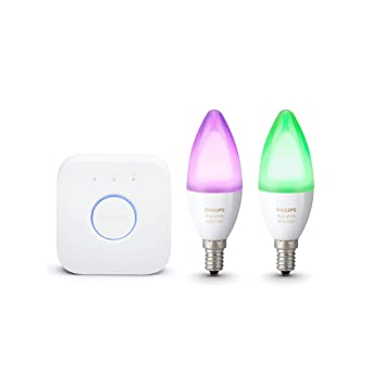 Philips Hue White and Color Ambiance - Pack de 2 bombillas LED E14, 6.5W